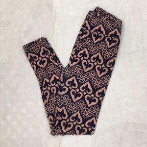 LuLaRoe Soft Blush Pink & Navy Blue Soft Leggings